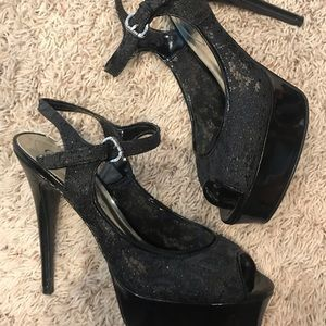 - GUESS Black Lacey Heels -